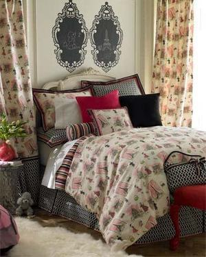 pink black white paris eiffel tower designer bedding ebay. Black Bedroom Furniture Sets. Home Design Ideas